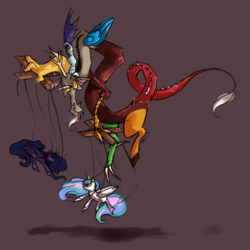 Size: 945x945   Tagged: safe, artist:askpopcorn, discord, princess celestia, princess luna, alicorn, draconequus, male, marionette, puppet, puppeteer, simple background, solo, strings