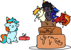Size: 551x390 | Tagged: artist:nootaz, birthday, changeling, changeling oc, chibi, commission, hat, oc, oc:blue, oc:cloud, oc:dazzling flash, oc:dusty sprinkles, oc:haymaker, oc only, party hat, party horn, present, safe, simple background, transparent background