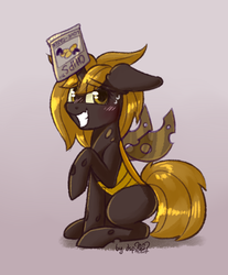 Size: 1109x1340 | Tagged: safe, artist:dsp2003, oc, oc only, oc:chips, changeling, changeling queen, pony, 30 minute art challenge, blushing, brown changeling, caught, changeling oc, changeling queen oc, chips, digital art, female, food, gradient background, grin, hiding in plain sight, looking at you, mare, nervous, nervous grin, raised hoof, smiling, solo, sweat drop
