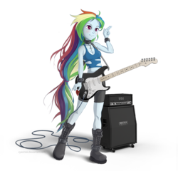 Size: 1200x1150   Tagged: safe, artist:vyazinrei, rainbow dash, equestria girls, amplifier, boots, clothes, female, guitar, guitar pick, midriff, musical instrument, shoes, shorts, simple background, solo, transparent background