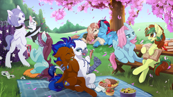Size: 4961x2792 | Tagged: safe, artist:arctic-fox, oc, oc only, oc:andrew swiftwing, oc:aveline, oc:avon, oc:clouded wisp, oc:ghislain, oc:jewel, oc:nimble wing, oc:northern spring, earth pony, griffon, pegasus, pony, rabbit, unicorn, blurred background, book, box, bunny out of the hat, card, cherry blossoms, choker, chromatic aberration, clapping, clothes, commission, confetti, curtains, eyes closed, female, field, floppy ears, flower, flower blossom, food, fork, freckles, group, happy, hat, hood, hoodie, hug, jewelry, lying down, magic, magic circle, magic trick, magic wand, male, meat, napkin, necklace, park, picnic, picnic blanket, picnic table, piercing, pillow, plants, playing card, rearing, salad, shipping, sitting, strawberry, table, tattoo, top hat, tree, winghug