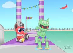 Size: 3056x2201 | Tagged: safe, artist:trackheadtherobopony, oc, oc:trackhead, original species, pony, robot, robot pony, wheelpone, crossover, ocean, orbot, plane, signature, sweeping, vectorman