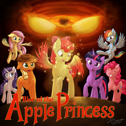 Size: 1024x1024 | Tagged: safe, artist:novaintellus, edit, apple bloom, applejack, fluttershy, pinkie pie, rainbow dash, rarity, twilight sparkle, alicorn, pony, fanfic:rise of the apple princess, alicornified, bloomicorn, colored wings, fanfic, fanfic art, mane six, race swap, twilight sparkle (alicorn), yellow eyes