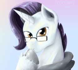 Size: 1339x1195 | Tagged: safe, artist:testostepone, oc, oc:yodi, pony, bust, cloven hooves, glasses, looking at you, not rarity, painting, portrait, unshorn fetlocks