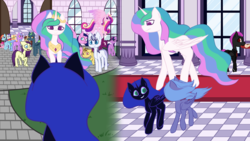 Size: 9000x5060 | Tagged: absurd res, alicorn, alternate universe, annoyed, applejack, artist:kids-in-the-corner, bat pony, cake, canterlot, canterlot castle, cobblestone (pathway), column, courtyard, crowd, crown, curious, earth pony, female, filly, filly luna, fluttershy, food, friendship is magic, grass, happy, horn, indifferent, jewelry, male, mane six, mare, multicolored hair, nervous, nightmare moon, oc, oc:amethyst dawn, oc:summer dancer, pegasus, pinkie pie, plate, platter, pony, princess cadance, princess celestia, princess luna, rainbow dash, rarity, red carpet, regalia, running, safe, scared, smiling, speedpaint, tiara, tile, torc, twilight sparkle, unnamed oc, walking, window, wings, wip, younger