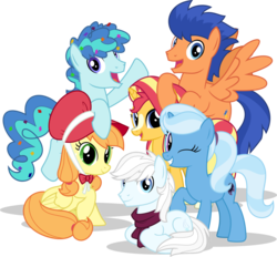 Size: 1024x951 | Tagged: safe, artist:mlp-trailgrazer, applejack, double diamond, flash sentry, party favor, sunset shimmer, trixie, pegasus, pony, alternate color palette, alternate cutie mark, alternate hairstyle, alternate universe, bonnet, clothes, confetti, flapplejack, mane six opening poses, one eye closed, prone, race swap, scarf, simple background, transparent background, wink