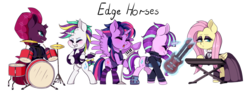 Size: 2048x800   Tagged: safe, artist:seishinann, fluttershy, rarity, starlight glimmer, tempest shadow, twilight sparkle, alicorn, pegasus, pony, unicorn, it isn't the mane thing about you, alternate hairstyle, broken horn, chibi, clothes, drums, fluttergoth, guitar, guitarity, keyboard, magic, microphone, musical instrument, punk, punklight sparkle, raripunk, simple background, socks, striped socks, telekinesis, transparent background, twilight sparkle (alicorn)