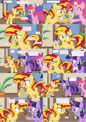 Size: 2564x3620 | Tagged: safe, artist:hakunohamikage, pinkie pie, sunset shimmer, twilight sparkle, oc, oc:azure eve, alicorn, pony, ask, ask-princesssparkle, baby, baby pony, flour sack, high res, magical lesbian spawn, offspring, parent:sunset shimmer, parent:trixie, parents:suntrix, tumblr, twilight sparkle (alicorn)