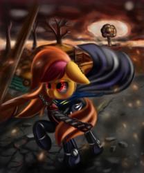 Size: 2500x3000 | Tagged: safe, artist:qbellas, oc, oc only, oc:pumpkin spice, bat pony, pony, clothes, fallout, solo