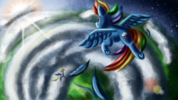 Size: 3840x2160 | Tagged: safe, artist:qbellas, derpy hooves, rainbow dash, pegasus, pony, cloud