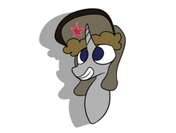 Size: 1600x1200 | Tagged: safe, artist:rafuki, oc, oc only, oc:ragtime melody, pony, unicorn, emblem, flat colors, hat, shadow, simple background, soviet, transparent background, ushanka