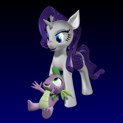 Size: 2000x2000 | Tagged: 3d, artist:argos90, between legs, cute, female, hug, male, rarity, safe, shipping, sparity, spike, straight