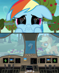 Size: 3150x3946 | Tagged: apple, applejack, apple tree, captain, clothes, cockpit, control, co-pilot, cute, edit, edited screencap, eye, eyes, food, grannies gone wild, not asking for trouble, plane, puppy dog eyes, rainbow dash, reflection, safe, screencap, shocked, text, tree, unamused, uniform, window, wiper