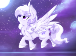 Size: 2732x2048 | Tagged: safe, artist:prismaticstars, oc, oc:starstorm slumber, pegasus, pony, female, flying, high res, mare, night, solo, spread wings, wings