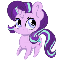 Size: 1024x1024 | Tagged: artist:therealakineko, chibi, heart eyes, pony, safe, simple background, solo, starlight glimmer, transparent background, unicorn, watermark, wingding eyes