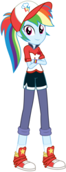 Size: 1402x3668 | Tagged: safe, artist:sketchmcreations, rainbow dash, epic fails (equestria girls), eqg summertime shorts, equestria girls, good vibes, cap, clothes, commission, converse, crossed arms, cute, female, hat, looking at you, pants, shoes, simple background, sneakers, socks, solo, transparent background, vector