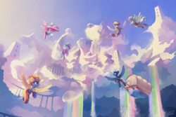Size: 6000x4000 | Tagged: safe, artist:freeedon, cloudchaser, derpy hooves, fleetfoot, flitter, night glider, spitfire, pegasus, pony, absurd resolution, beautiful, city, clothes, cloud, cloudscape, cloudsdale, female, flying, mare, rainbow, rainbow waterfall, scenery, sky, uniform, wonderbolts uniform