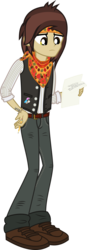 Size: 762x2181 | Tagged: safe, artist:lightningbolt, derpibooru exclusive, equestria girls, .svg available, belt, clothes, equestria girls-ified, frown, hand on hip, headband, holding, jeans, looking down, lyrics, male, neckerchief, panic! at the disco, pants, paper, pencil, pretty. odd., pulled up sleeve, ryan ross, shirt, shoes, simple background, solo, song reference, svg, tattoo, text, transparent background, undershirt, vector, vest