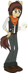 Size: 837x2181 | Tagged: safe, artist:lightningbolt, derpibooru exclusive, equestria girls, .svg available, belt, clothes, equestria girls-ified, frown, hand on hip, headband, holding, jeans, looking down, lyrics, male, neckerchief, panic! at the disco, pants, paper, pencil, ponied up, pony ears, pretty. odd., pulled up sleeve, ryan ross, shirt, shoes, simple background, solo, song reference, svg, tattoo, text, transparent background, undershirt, vector, vest