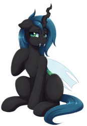 Size: 1496x2163   Tagged: safe, artist:evomanaphy, oc, oc only, oc:cyclorra, changeling, changeling oc, changeling princess, commission, fangs, looking at you, simple background, sitting, solo, transparent background