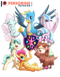 Size: 600x760 | Tagged: safe, artist:phoenixperegrine, gallus, ocellus, sandbar, silverstream, smolder, yona, changedling, changeling, classical hippogriff, dragon, earth pony, griffon, hippogriff, pony, yak, bipedal, bow, cloven hooves, cute, cuteling, diaocelles, diastreamies, dragoness, female, flying, gallabetes, hair bow, male, monkey swings, patreon, patreon logo, sandabetes, simple background, smolderbetes, student six, teenager, transparent background, yonadorable