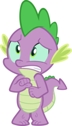 Size: 1000x1747 | Tagged: anxiety, body swap, dragon, edit, epic fail, fail, fear, female, frown, gritted teeth, implied chrysalis, i've made a huge mistake, male, panic, safe, scared, simple background, solo, spell gone wrong, spike, transparent background, vector, vector edit, worried