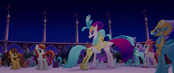 Size: 1920x804 | Tagged: safe, screencap, bell perin, chocolate apple, dawn sunrays, haven bay, princess skystar, queen novo, salina blue, stratus skyranger, classical hippogriff, earth pony, hippogriff, pegasus, pony, my little pony: the movie, background pony, female, hug, mare, mother and daughter, rainbow (song), unnamed pony