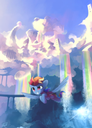 Size: 4346x6072 | Tagged: safe, artist:freeedon, rainbow dash, pegasus, pony, absurd resolution, cloudscape, cloudsdale, female, flying, mare, phone wallpaper, rainbow waterfall, scenery, smiling, solo, spread wings, wings