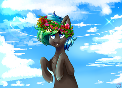 Size: 2555x1833 | Tagged: artist:sakura-sven, cloud, cloudy, floral head wreath, flower, oc, oc:bright side, oc only, pony, safe, solo