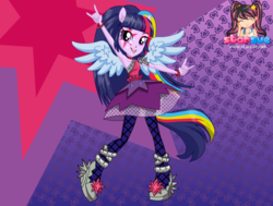 Size: 794x599 | Tagged: safe, artist:user15432, twilight sparkle, alicorn, equestria girls, rainbow rocks, clothes, dressup, dressup game, equestria girls rainbow rocks, female, hasbro, hasbro studios, ponied up, pony ears, rainbow hair, rock and roll, shoes, starsue, twilight sparkle (alicorn), winged humanization, wings