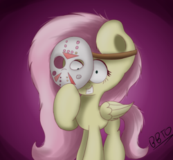 Size: 2600x2400 | Tagged: artist:bronybehindthedoor, creepy, creepy smile, female, fluttershy, folded wings, friday the 13th, hockey mask, jason voorhees, looking at you, mare, mask, safe, smiling, solo