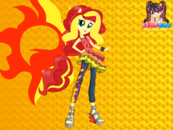 Size: 795x599 | Tagged: safe, artist:user15432, sunset shimmer, human, equestria girls, rainbow rocks, clothes, dress, dressup, dressup game, equestria girls rainbow rocks, female, hasbro, hasbro studios, ponied up, pony ears, rainbow hair, rock and roll, starsue