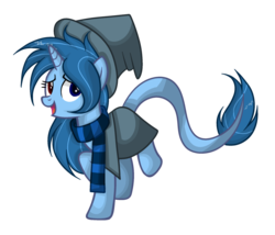 Size: 1024x878 | Tagged: artist:mintoria, cloak, clothes, female, hat, mare, oc, oc:lapis enchant, pony, safe, scarf, simple background, solo, transparent background, unicorn, vector, witch hat