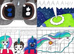 Size: 4307x3159   Tagged: safe, artist:eternaljonathan, princess celestia, princess luna, oc, oc:nemo, alicorn, unicorn, comic:first three back, 3ds xl, annoyed, comic, eye, eyes, female, gaming, guardian, levitation, magic, mare, nurse, pencil drawing, planet, popping, royal sisters, science fiction, screaming, stitches, telekinesis, traditional art