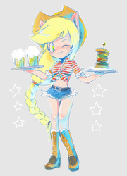 Size: 720x1000 | Tagged: safe, artist:hacha, applejack, equestria girls, belly button, boots, braid, burger, clothes, daisy dukes, eared humanization, food, front knot midriff, looking at you, midriff, mug, one eye closed, plate, ponied up, shoes, shorts, tray, wink