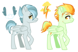 Size: 517x347 | Tagged: safe, artist:whalepornoz, oc, oc only, oc:cloudy blizzard, oc:thunder flash, pegasus, pony, female, magical lesbian spawn, male, mare, offspring, parent:lightning dust, parent:marble pie, parent:misty fly, parent:rainbow dash, parents:marblefly, parents:rainbowdust, sideburns, simple background, stallion, transparent background