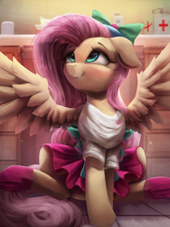 Size: 2250x3000   Tagged: safe, artist:vanillaghosties, fluttershy, pegasus, pony, eqg summertime shorts, equestria girls, pet project, bow, clothes, cute, equestria girls outfit, equestria girls ponified, female, first aid kit, floppy ears, mare, ponified, shyabetes, skirt, smiling, solo, spread wings, wings