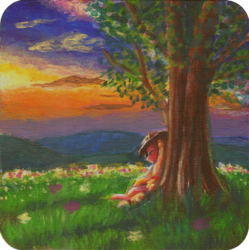 Size: 1200x1206 | Tagged: safe, artist:sa1ntmax, applejack, earth pony, pony, acrylic painting, coaster, craft, eyes closed, female, flower, hill, mare, nap, resting, scenery, sleeping, sunset, traditional art, tree, under the tree, wood