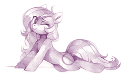 Size: 2005x1192   Tagged: safe, artist:lispp, oc, oc only, oc:oblivia, earth pony, pony, female, gift art, mare, monochrome, one eye closed, pencil drawing, simple background, sketch, solo, traditional art, white background