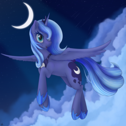 Size: 1980x1980 | Tagged: alicorn, artist:uncannycritter, cloud, crescent moon, female, flying, hoof shoes, moon, night, pony, princess luna, s1 luna, safe, simple background, solo