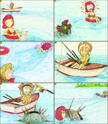 Size: 2024x2319   Tagged: safe, artist:meiyeezhu, applejack, strawberry sunrise, human, anime, applejack's hat, bikini, boat, comic, cooler, costume, cowboy hat, disguise, fishing, fishing boat, fishing rod, funny, hat, hilarious, humanized, inner tube, island, karma, mine, naval mine, oar, ocean, old master q, panic, parody, payback, prank, retaliation, revenge, rivalry, rowboat, rowing, scared, sea mine, shocked, shorts, splashing, summer, surprised, swimming, swimsuit, traditional art, trolling, vacation