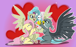 Size: 8000x5000 | Tagged: safe, artist:chedx, angel bunny, fluttershy, gabby, princess skystar, griffon, hippogriff, pegasus, pony, rabbit, my little pony: the movie, absurd resolution, female, heart, heart background, holding, looking at something, male, mare, outline, spread wings, varying degrees of amusement, varying degrees of want, white outline, wings, worried