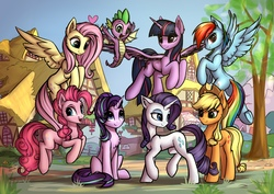 Size: 2560x1808 | Tagged: safe, artist:setharu, applejack, fluttershy, pinkie pie, rainbow dash, rarity, spike, starlight glimmer, twilight sparkle, alicorn, dragon, earth pony, pegasus, pony, unicorn, chest fluff, cowboy hat, cute, cutie mark, featured image, female, flying, grass, group photo, happy, hat, heart, lidded eyes, looking at each other, looking at you, looking back, looking down, looking up, male, mane eight, mane seven, mane six, mare, open mouth, plot, ponyville, pronking, raised hoof, raised leg, sitting, sky, smiling, smirk, spread wings, tree, twilight sparkle (alicorn), underhoof, winged spike, wings