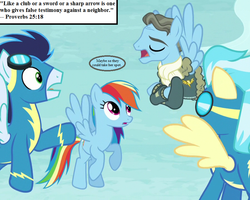 Size: 900x720 | Tagged: bible, bible verse, clothes, cropped, edit, edited screencap, goggles, jacket, misty fly, proverbs, rainbow dash, rarity investigates, religion, safe, scarf, screencap, soarin', speech bubble, spitfire, text, uniform, wind rider, wonderbolts uniform