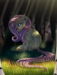 Size: 1000x1316 | Tagged: artist:verawitch, crepuscular rays, dappled sunlight, female, floppy ears, fluttershy, forest, grass, head turn, looking at you, looking back, looking sideways, mare, outdoors, pegasus, pony, sad, safe, sitting, solo, teary eyes, wings