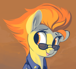 Size: 1533x1385   Tagged: safe, artist:dimfann, spitfire, pony, :p, bust, clothes, cute, cutefire, female, looking away, looking sideways, mare, portrait, silly, solo, sunglasses, tongue out