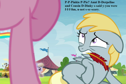 Size: 1080x720 | Tagged: safe, edit, edited screencap, screencap, amber waves, chirpy hooves, pinkie pie, trade ya, cropped, discord lamp, feather, frightened, implied derpy, implied dinky, pennant, stuttering, tent, terrified, text
