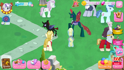 Size: 1280x720 | Tagged: safe, accord, all aboard, banana bliss, cornicle, eclair créme, jangles, masseuse pony, north point, party favor, pharynx, rosy pearl, twilight velvet, zesty gourmand, changedling, changeling, game screencap, gameloft, gameloft shenanigans, las pegasus resident, paradox, prince pharynx, quake, self ponidox