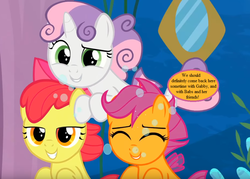 Size: 875x625 | Tagged: adorabloom, apple bloom, bow, cropped, cute, cutealoo, cutie mark crusaders, diasweetes, edit, edited screencap, hair bow, implied babs, implied gabby, safe, scootaloo, screencap, sea-mcs, seaponified, seapony apple bloom, seapony (g4), seapony scootaloo, seapony sweetie belle, seaquestria, smiling, species swap, speech bubble, surf and/or turf, sweetie belle, text