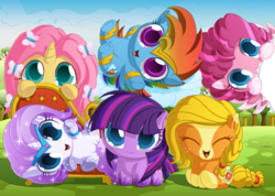 Size: 1500x1067 | Tagged: safe, artist:berrypawnch, applejack, fluttershy, pinkie pie, rainbow dash, rarity, twilight sparkle, pegasus, pony, applejack (g5), berrypawnch is trying to murder us, bracelet, braid, chibi, cloud, cute, dashabetes, diapinkes, earth pony twilight, fainting couch, female, fluttershy (g5), g5, g5 concept leak style, hiding, jackabetes, jewelry, looking at you, mane six, mane six (g5), mare, pegasus pinkie pie, pinkie pie (g5), race swap, rainbow dash (g5), raribetes, rarity (g5), shyabetes, smiling, twiabetes, twilight sparkle (g5), unicorn fluttershy